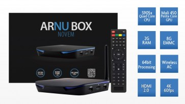 ARNU Box Novem - Android - Marshmallow 6.0.1 - Kodi 17.3 - Wireless AC - Cloudword Sync
