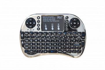 Rii mini i8+ Chrome Silver (2.4GHZ RF Wireless Keyboard with Touchpad Mouse, Backlit, Rechargable)
