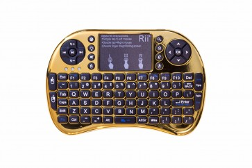 Rii mini i8+ Chrome Gold (2.4GHZ RF Wireless Keyboard with Touchpad Mouse, Backlit, Rechargable)