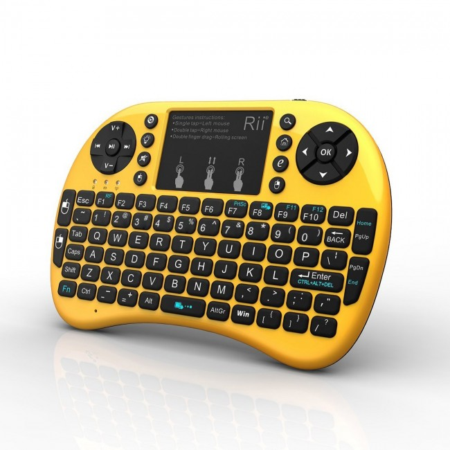 15fa926b984 Rii mini i8+ Gold / Yellow (2.4GHZ RF Wireless Keyboard with Touchpad Mouse,